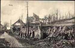 Postcard Missy sur Aisne, Kriegszerstörungen, Soldaten, Ruinen, Kirche