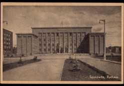 Ak Sosnowiec Sosnowitz Schlesien, Blick auf das Rathaus, Platz, Fassade