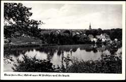Ak Pełczyce Bernstein Neumark Ostbrandenburg, Blick auf den Ort, Kirchturm