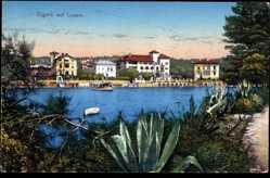 Postcard Lussinpiccolo Kroatien, Cigale auf Lussin, Agaven, Gewässer, Ort