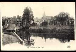 Ak Torisni sur Vire Manche, Bords de la Vire, Flusspartie, Kirchturm
