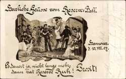 Postcard Hannover in Niedersachsen, Reserve Ball 1907, Tanzende Paare, Soldatenballett