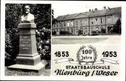 Ak Nienburg an der Weser, Staatsbauschule, 1853 bis 1953, Denkmal Rhien
