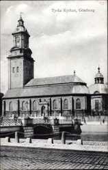 Postcard Göteborg Schweden, Church, Tyska Kyrkan, Bridge