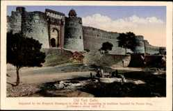 Postcard Delhi Indien, Old Fort, Repaired by the Emperor Humayun in 1540