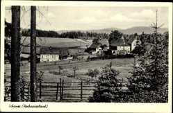 Postcard Schanze Schmallenberg im Sauerland, Blick auf den Ort, Felder, Berge