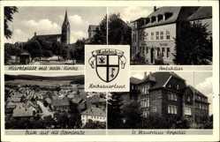 Wappen Ak Medebach im Hochsauerland, Markt, kath. Kirche, Amtshaus, Hospital