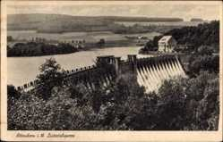 Postcard Attendorn in Westfalen, Blick auf die Listertalsperre