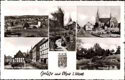 Postcard Olpe Biggesee Sauerland, Steinkuhle, Stadtpark, Hexenturm, Kurkölner Platz