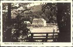 Postcard Rimberg Schmallenberg, Fernblick auf ein Haus, Waldpartie