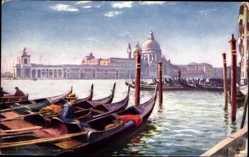 Künstler Ak Venezia Venedig Veneto, Entrance to Grand Canal, Gondeln