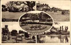 Postcard Swansea Wales, University, Floral clock Victoria Park, Sands, Bryn Mill Park