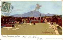 Künstler Litho Craffonara, Pompei Campania, Panorama del Foro, Vesuvio