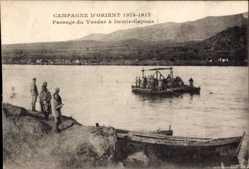 Postcard Mazedonien, Passage du Vardar à Demir Capous, Fähre im Fluss