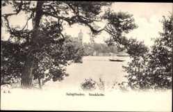 Postcard Saltsjöbaden Schweden, Gewässerpartie, Boot, Gebäude