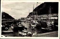 Postcard San Sebastian Baskenland Spanien, Darsena del puerto, Rade du Port