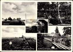 Postcard Neudorf Platendorf Sassenberg, Bahnhof, Kantine Niedersachsen, Torftransport