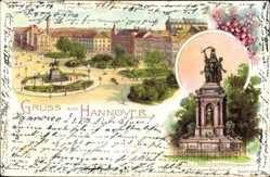 Litho Hannover in Niedersachsen, Kriegerdenkmal, Ernst August Platz