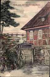 Künstler Ak Cohrs, H., Lüneburg, Aquarell, Fachwerk, Wassermühle, Mühlrad