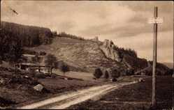 Postcard Triberg im Schwarzwald, Partie am Steinhof, Straße, Hütte, Schild