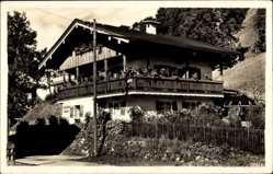 Postcard Berchtesgaden in Oberbayern, Hanserer Häusl, Ing. M. Hölzl, Balkon