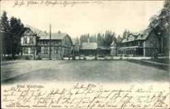 Postcard Schierke Wernigerode, Hotel Waldfrieden, Fachwerk, Hof, Gebäude