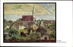Künstler Ak Weber, An der Donau, Ort, Kirche, Flussblick