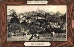 Leporello Ak St. Galmier Loire, Caisse, Sources, Place des Roches, Église