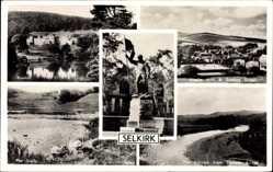 Postcard Selkirk Schottland, Bowhill, Flodden Memorial, Pot Loch, Linglie Hills