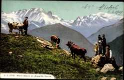 Postcard Haute Savoie, Mont Blanc et Aiguille Verte, Kühe, Hirten