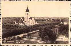 Postcard Knokke Heist Westflandern, Église et Villas, Kerk en Villas
