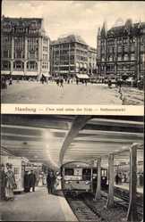Postcard Hamburg Mitte, Über und unter der Erde, Rathausmarkt, Ringzug, U Bahn