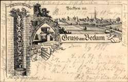 Künstler Ak Risse, C., Beckum im Kreis Warendorf, Rathaus Sonnenuhr, Totale