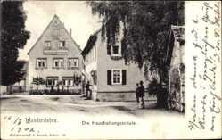 Postcard Wandersleben Thüringen, Straßenpartie mit Blick auf die Haushaltungsschule