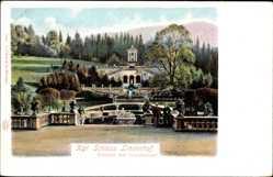 Postcard Ettal Oberbayern, Königliches Schloss Linderhof, Terrasse mit Venustempel