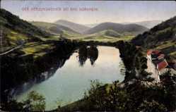 Postcard Bad Dürkheim am Pfälzerwald, Blick auf den Herzogsweiher, Berge