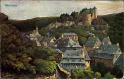 Künstler Ak Braun, L., Monschau Montjoie, Blick auf den Ort mit Schlossruine