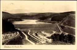 Postcard Osterode in Niedersachsen, Sösetalsperre, Staumauer, Berge, Felder