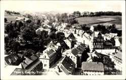 Postcard Thum im Erzgebirge Sachsen, Teilansicht der Ortschaft, Felder