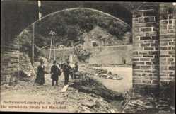 Postcard Mayschoß im Kreis Ahrweiler, Hochwasser im Ahrtal, verwüstete Straße