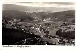 Postcard Warmensteinach Oberfranken Bayern, Blick auf den Ort, Felder, Wald