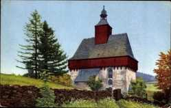 Postcard Großrückerswalde Erzgebirgskreis, Ansicht der Kirche mit Landschaft