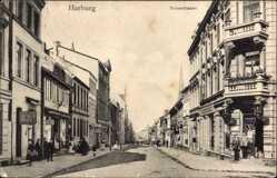 Postcard Hamburg Harburg, Blick in die Neuestraße, Geschäfte, Kirchturm