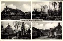 Postcard Upleward Krummhörn Ostfriesland, Bäckerei Arnold Markus, Denkmal, Kirche