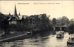 Postcard Hamburg Nord Eppendorf, Blick auf Pastorat und Winterhuder Brücke