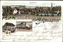 Litho Marienheide Nordrhein Westfalen, Gasthof Lichtingbagen, Bahnhof