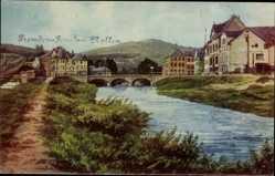 Künstler Ak Alf an der Mosel, Häuser am Fluss, Brücke, Fremdenpension Nollen