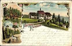 Litho Boppard im Rhein Hunsrück Kreis, Forsthaus Kreuzberg, Förster