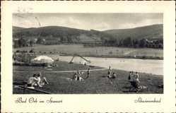 Postcard Bad Orb im Main Kinzig Kreis Hessen, Schwimmbad, Badegäste
