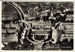 Postcard Hamburg Mitte Neustadt, Sievekingplatz mit Gerichtsgebäuden, Fliegeraufnahme